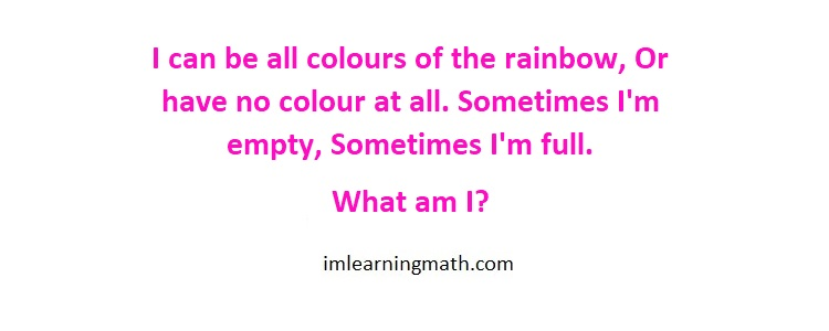 I Can Be All Colors Of The Rainbow Riddle I M Learning Math